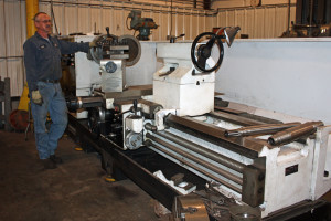 """David with our 46"""" lathe."""